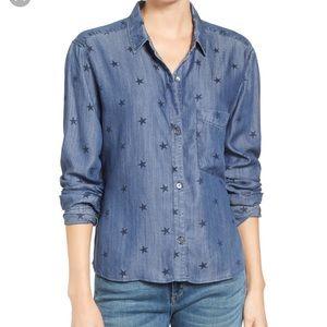 Dana star print chambray button down shirt